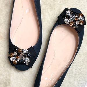 Kate Spade |  Bejeweled Bow Suede Ballet Flats